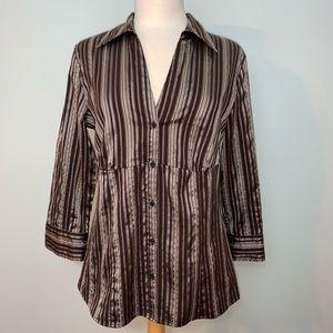 Brown and metallic dress shirt